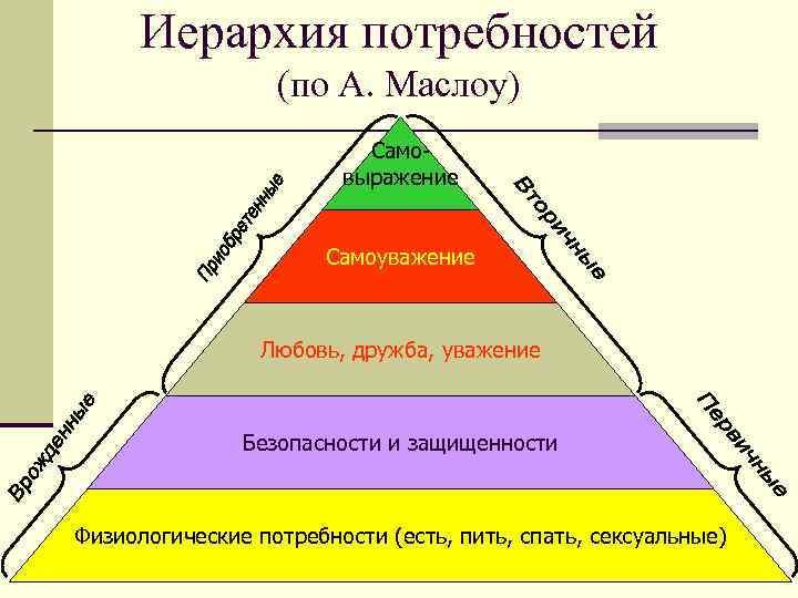 Иерархия потребностей (по А. Маслоу) Самовыражение Самоуважение Любовь, дружба, уважение Безопасности и защищенности Физиологические