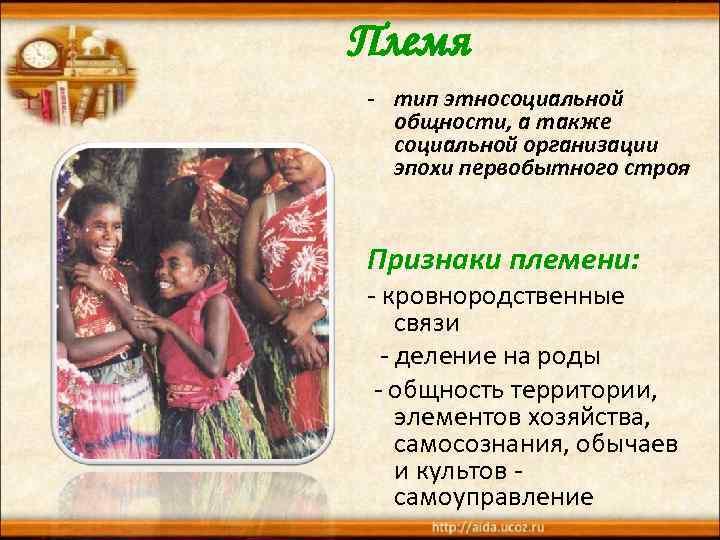 Племя - тип этносоциальной общности, а также социальной организации эпохи первобытного строя Признаки племени: