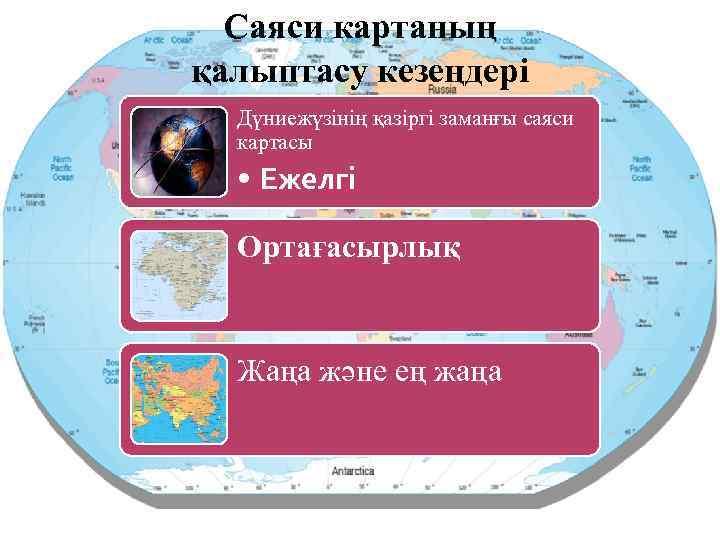 Саяси картаның қалыптасу кезеңдері Дүниежүзінің қазіргі заманғы саяси картасы • Ежелгі Ортағасырлық Жаңа және