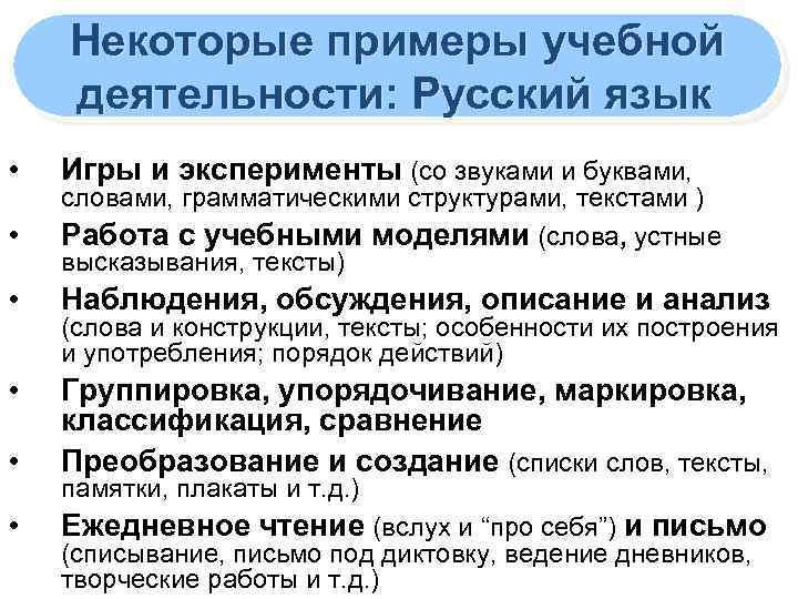Некоторые примеры учебной деятельности: Русский язык • Игры и эксперименты (со звуками и буквами,