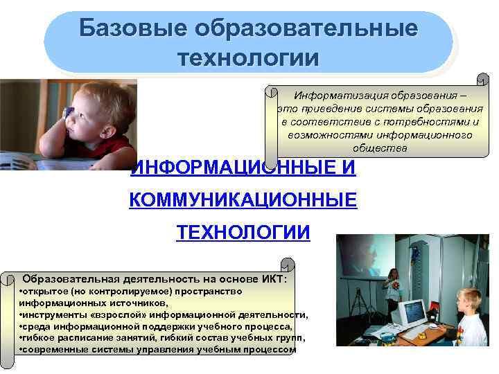 Базовые образовательные технологии Информатизация образования – это приведение системы образования в соответствие с потребностями
