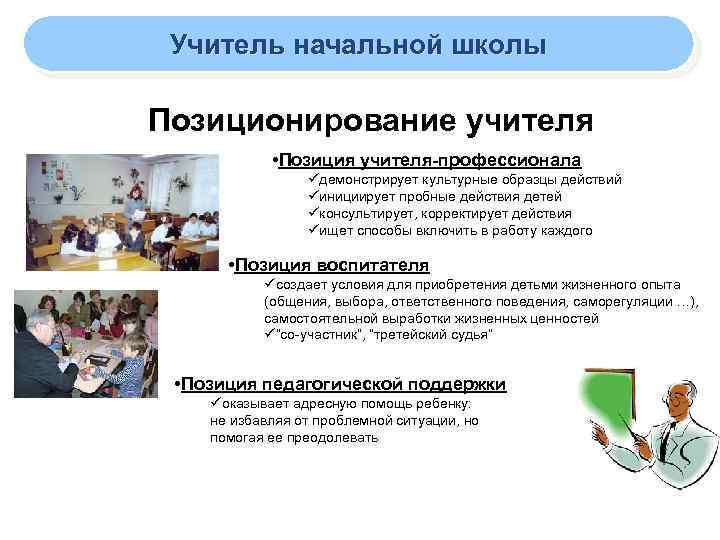 Учитель начальной школы Позиционирование учителя • Позиция учителя-профессионала üдемонстрирует культурные образцы действий üинициирует пробные
