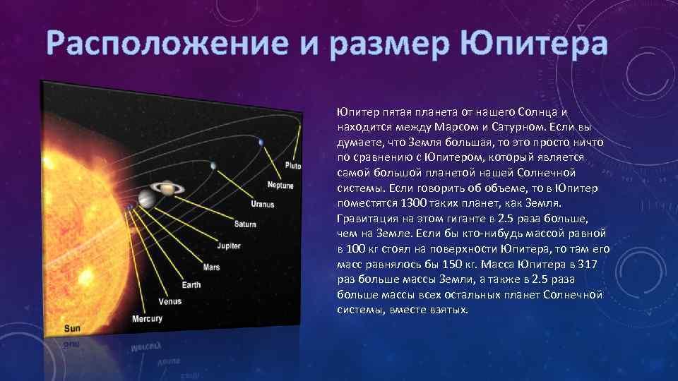 Расположение и размер Юпитера Юпитер пятая планета от нашего Солнца и находится между Марсом