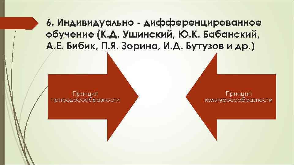 6. Индивидуально - дифференцированное обучение (К. Д. Ушинский, Ю. К. Бабанский, А. Е. Бибик,