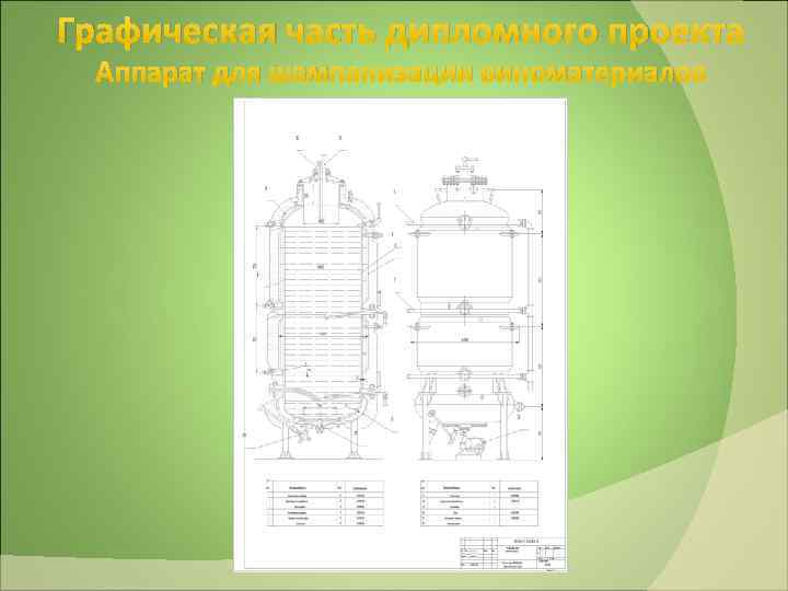 Графическая часть дипломного проекта Аппарат для шампанизации виноматериалов