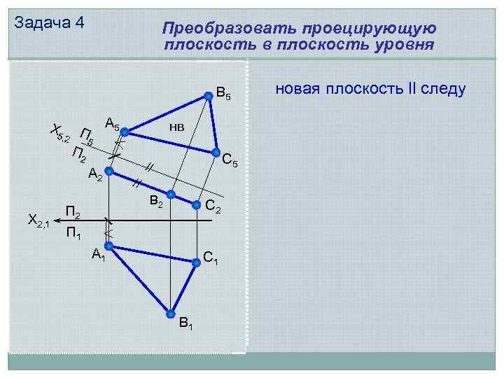 Задача 4 Преобразовать проецирующую плоскость в плоскость уровня В 5 Х 5 , 2