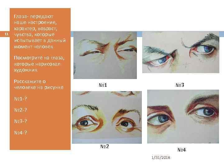11 Глаза- передают наше настроение, характер, возраст, чувства, которые испытывает в данный момент человек