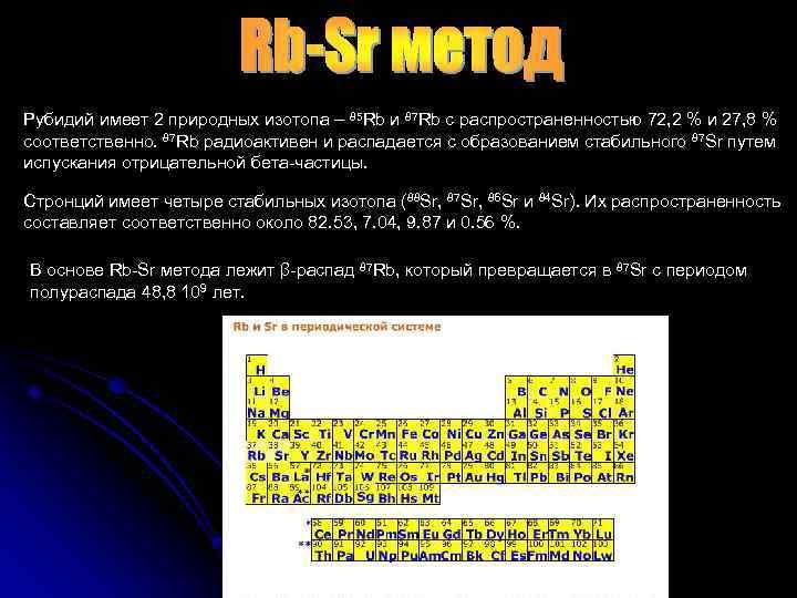 Рубидий имеет 2 природных изотопа – 85 Rb и 87 Rb с распространенностью 72,