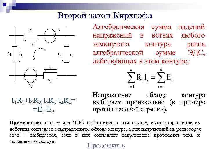 Второй закон Кирхгофа      Алгебраическая сумма