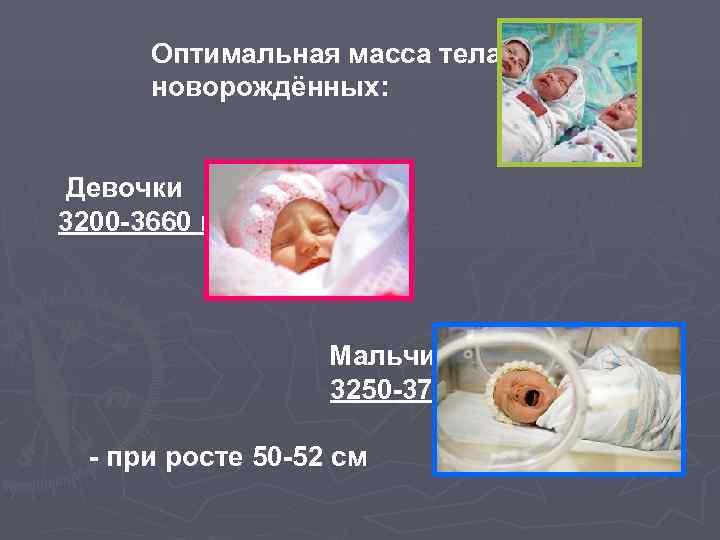 Оптимальная масса тела  новорождённых:  Девочки 3200 -3660 г