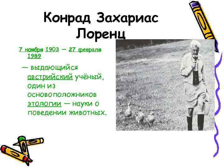 Конрад Захариас  Лоренц 7 ноября 1903 — 27 февраля  1989