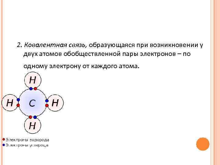 2. Ковалентная связь, образующаяся при возникновении у  двух атомов обобществленной пары электронов –