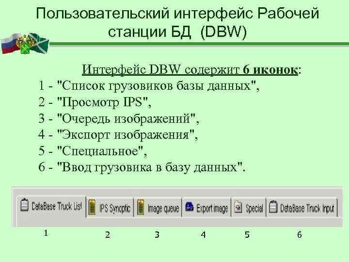 Пользовательский интерфейс Рабочей   станции БД (DBW)   Интерфейс DBW содержит 6