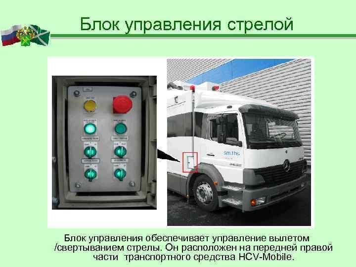 Блок управления стрелой  Блок управления обеспечивает управление вылетом /свертыванием стрелы. Он