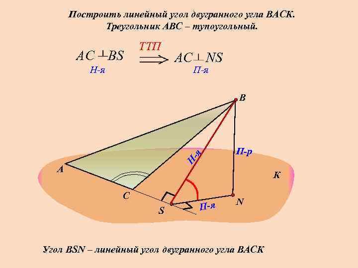 Построить линейный угол двугранного угла ВАСК.    Треугольник АВС –