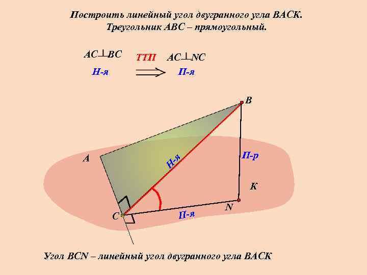 Построить линейный угол двугранного угла ВАСК.   Треугольник АВС – прямоугольный.