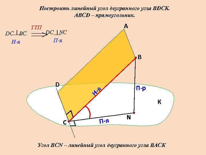 Построить линейный угол двугранного угла ВDСК.    АВСD – прямоугольник.