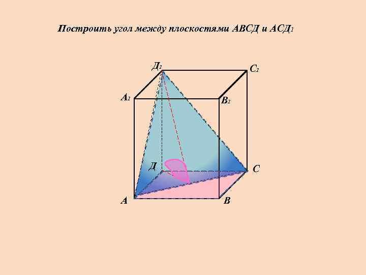 Построить угол между плоскостями АВСД и АСД 1    С 1