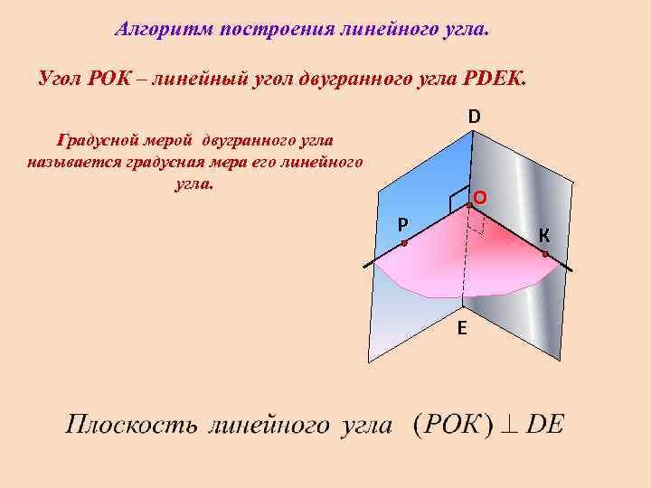 Алгоритм построения линейного угла.  Угол РОК – линейный угол двугранного