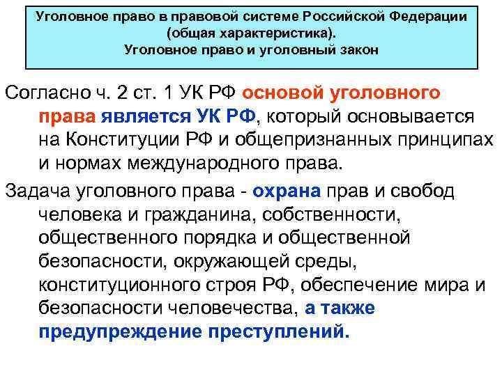 Уголовное право в правовой системе Российской Федерации     (общая