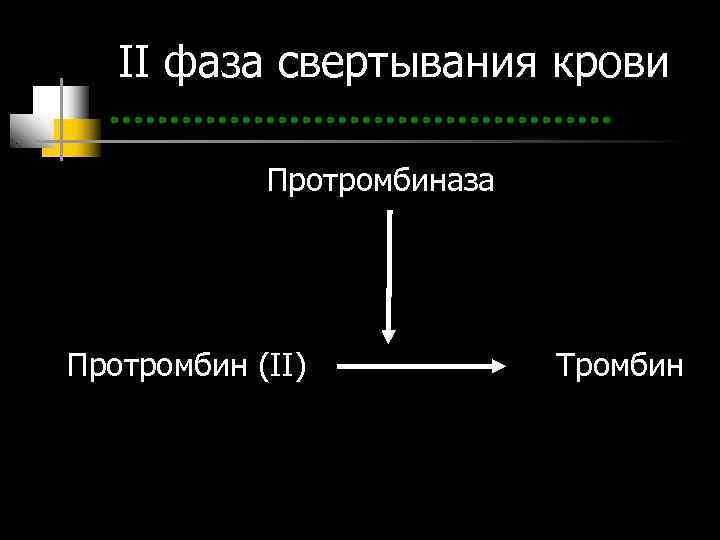 II фаза свертывания крови   Протромбиназа Протромбин (II)   Тромбин