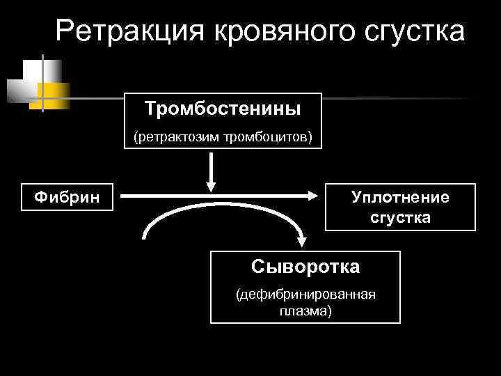 Ретракция кровяного сгустка  Тромбостенины   (ретрактозим тромбоцитов)  Фибрин