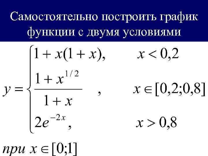 Самостоятельно построить график  функции с двумя условиями