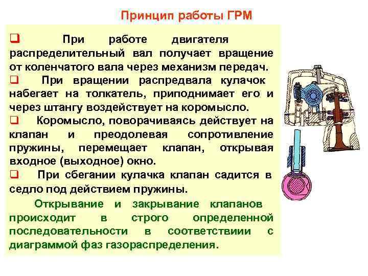 Принцип работы ГРМ q  При работе двигателя распределительный вал получает