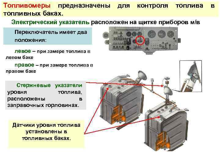 Топливомеры предназначены   для  контроля  топлива  в топливных баках.