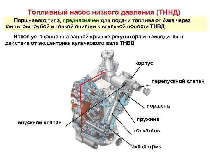 Топливный насос низкого давления (ТННД)  Поршневого типа, предназначен для подачи топлива