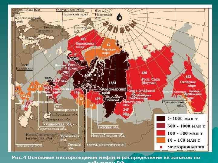 Рис. 4 Основные месторождения нефти и распределение её запасов по