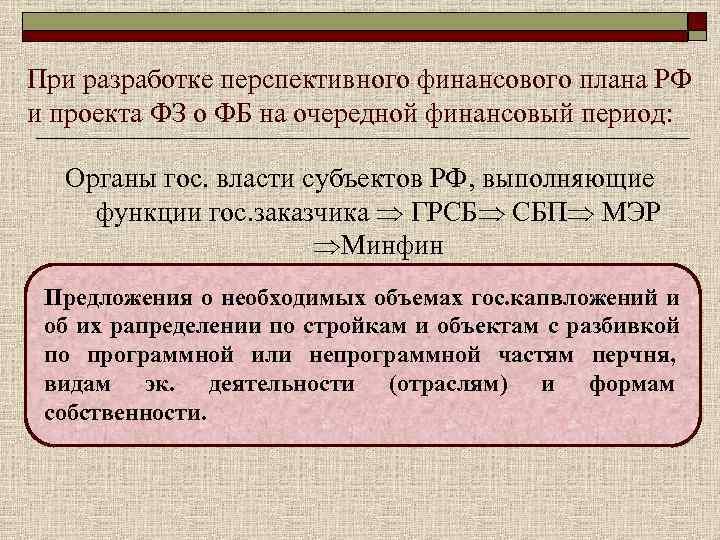 При разработке перспективного финансового плана РФ и проекта ФЗ о ФБ на очередной финансовый