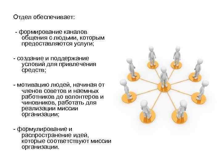 Отдел обеспечивает:  - формирование каналов общения с людьми, которым предоставляются услуги;  -