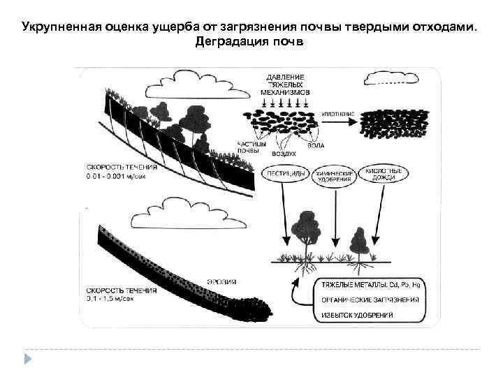Укрупненная оценка ущерба от загрязнения почвы твердыми отходами.     Деградация почв
