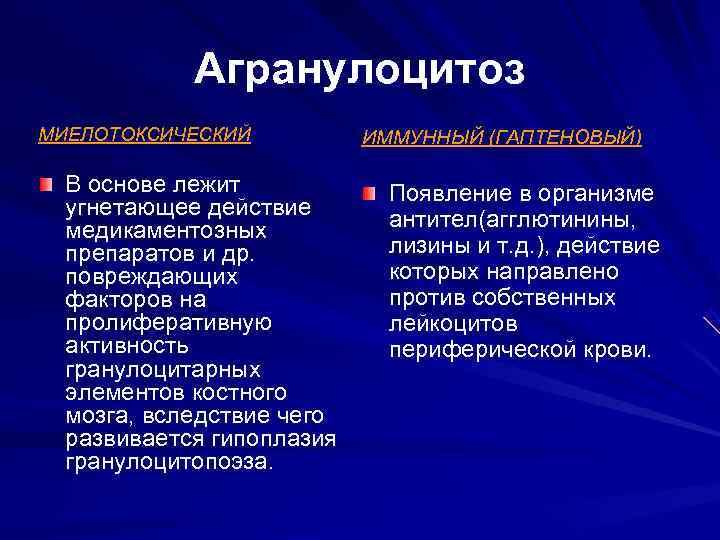 Агранулоцитоз МИЕЛОТОКСИЧЕСКИЙ  ИММУННЫЙ (ГАПТЕНОВЫЙ)  В основе лежит   Появление