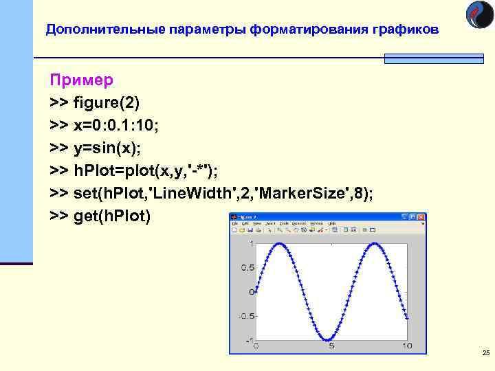 Дополнительные параметры форматирования графиков  Пример >> figure(2) >> x=0: 0. 1: 10; >>