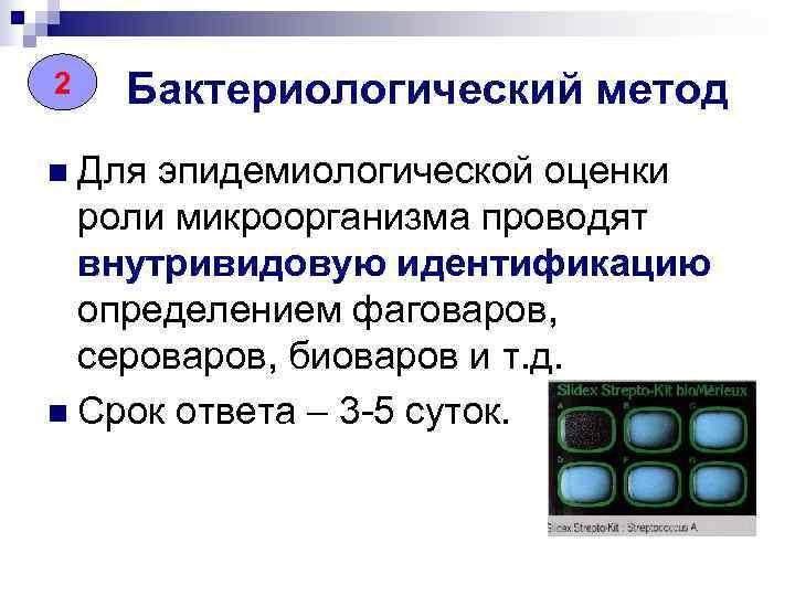 22  Бактериологический метод n Для эпидемиологической оценки  роли микроорганизма проводят  внутривидовую