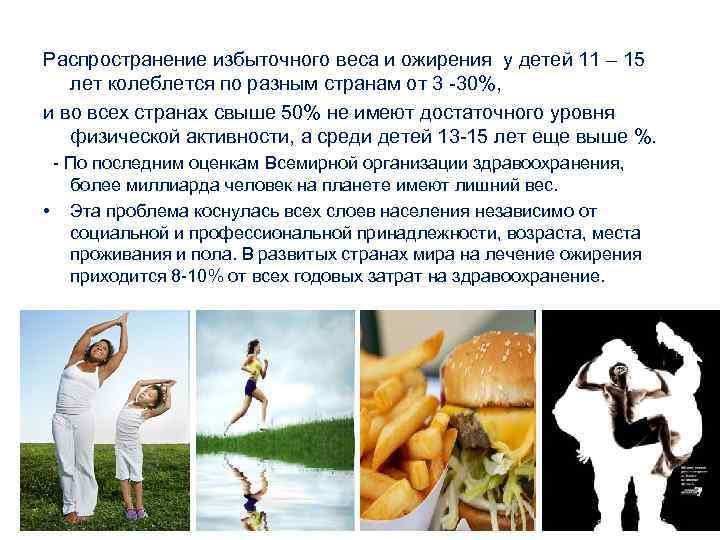Распространение избыточного веса и ожирения у детей 11 – 15 лет колеблется по разным