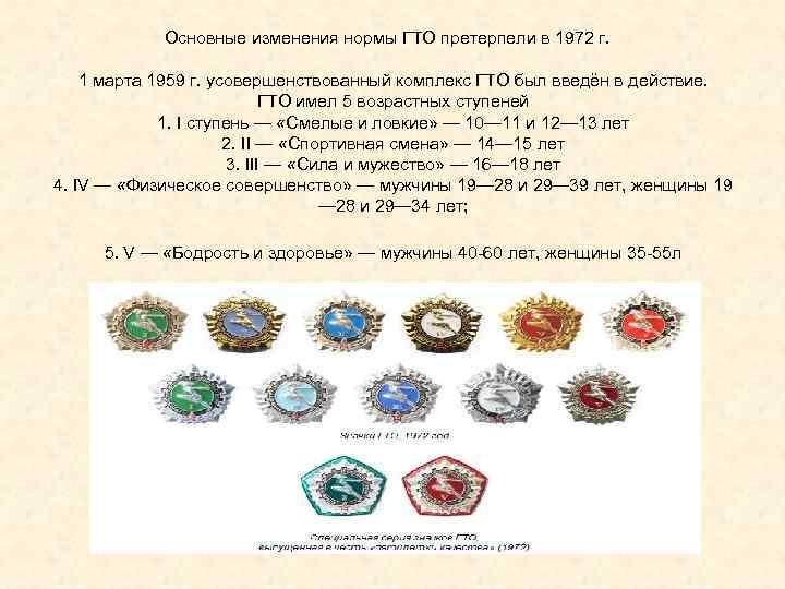 Основные изменения нормы ГТО претерпели в 1972 г.  1 марта 1959