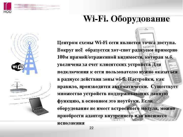 Wi-Fi. Оборудование Центром схемы Wi-Fi сети является точка доступа. Вокруг неё