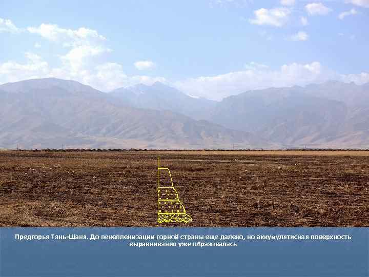 Предгорья Тянь-Шаня. До пенепленизации горной страны еще далеко, но аккумулятисная поверхность