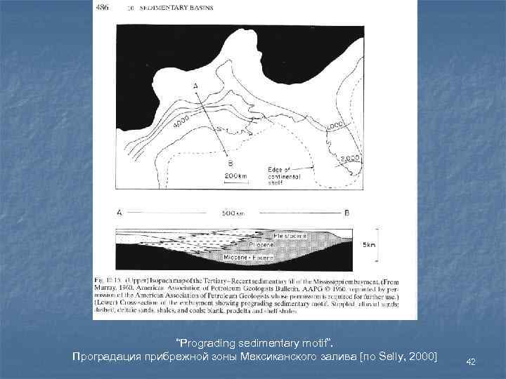 """Prograding sedimentary motif"". Проградация прибрежной зоны Мексиканского залива [по Selly, 2000]"