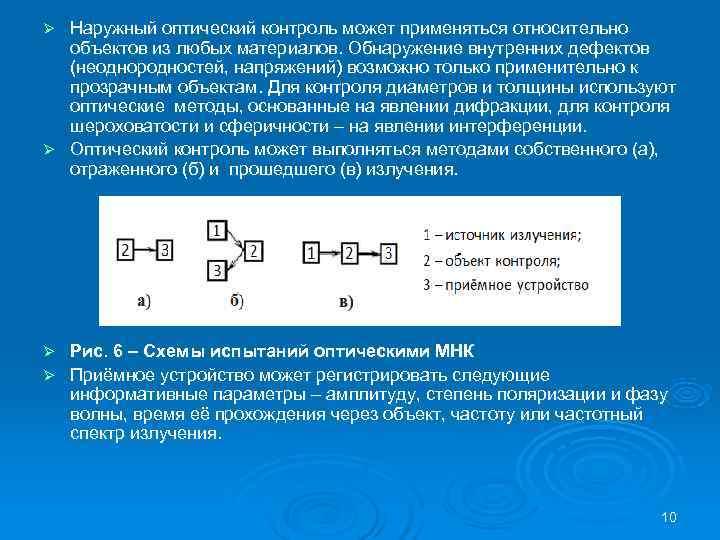 Ø Наружный оптический контроль может применяться относительно  объектов из любых материалов. Обнаружение внутренних
