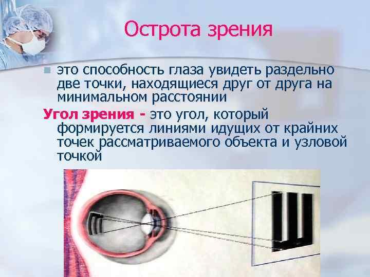 Острота зрения n это способность глаза увидеть раздельно  две точки, находящиеся