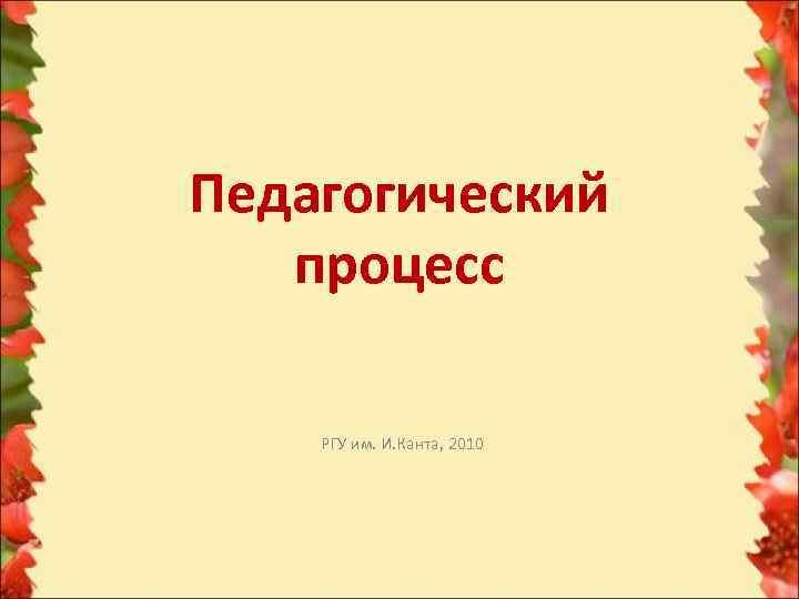 Педагогический  процесс РГУ им. И. Канта, 2010