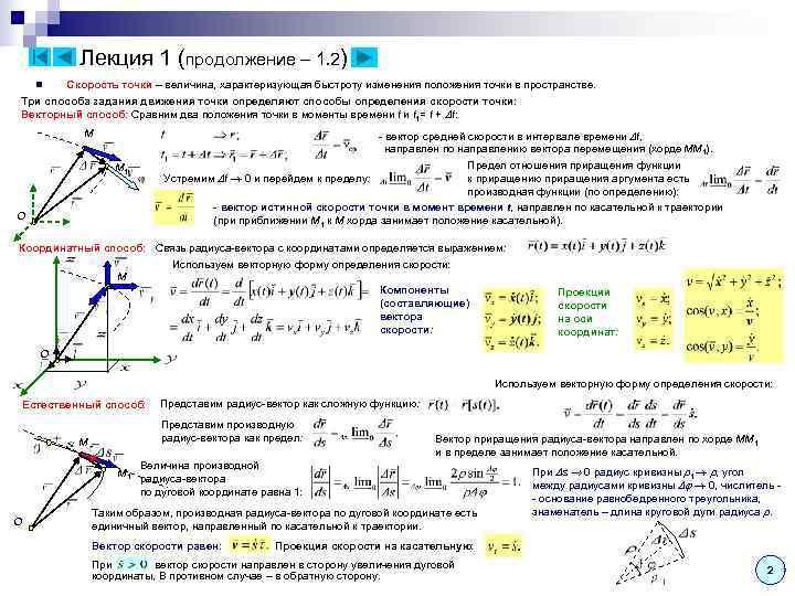 Лекция 1 (продолжение – 1. 2) n  Скорость точки –