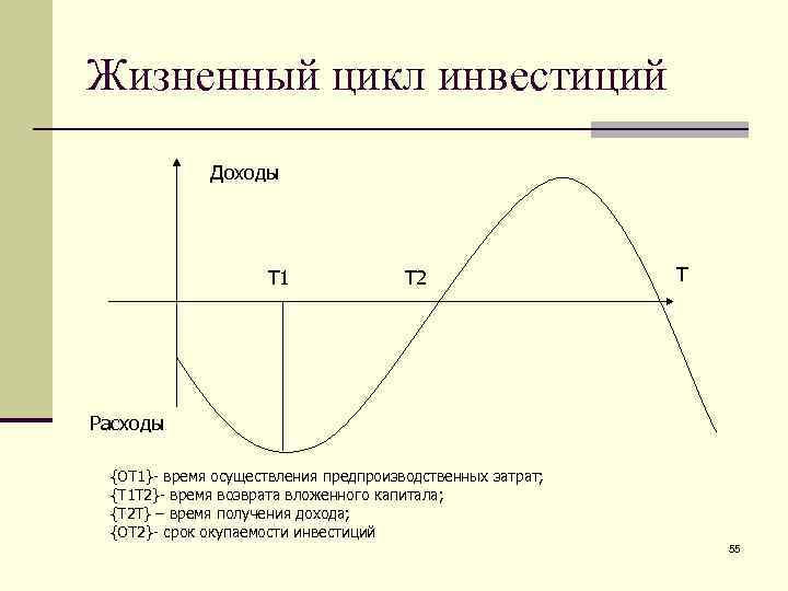 Жизненный цикл инвестиций   Доходы     Т 1