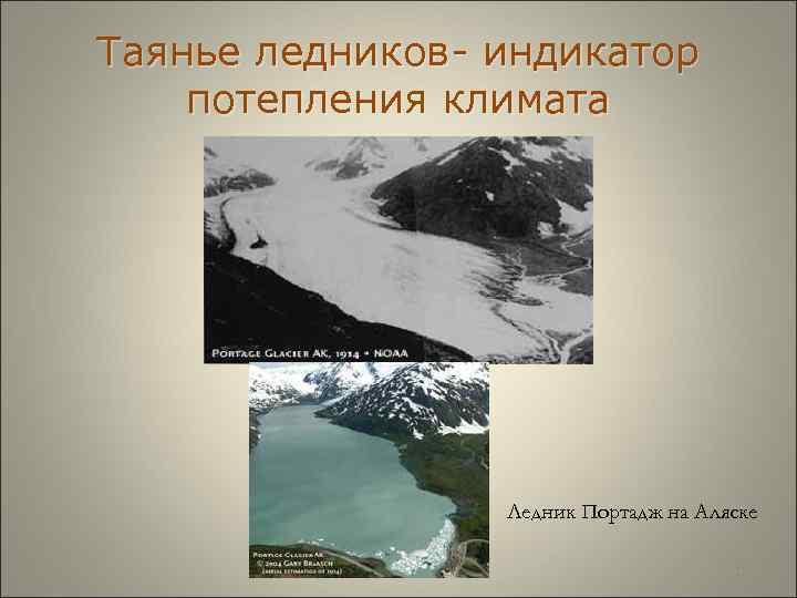 Таянье ледников- индикатор потепления климата     Ледник Портадж на Аляске
