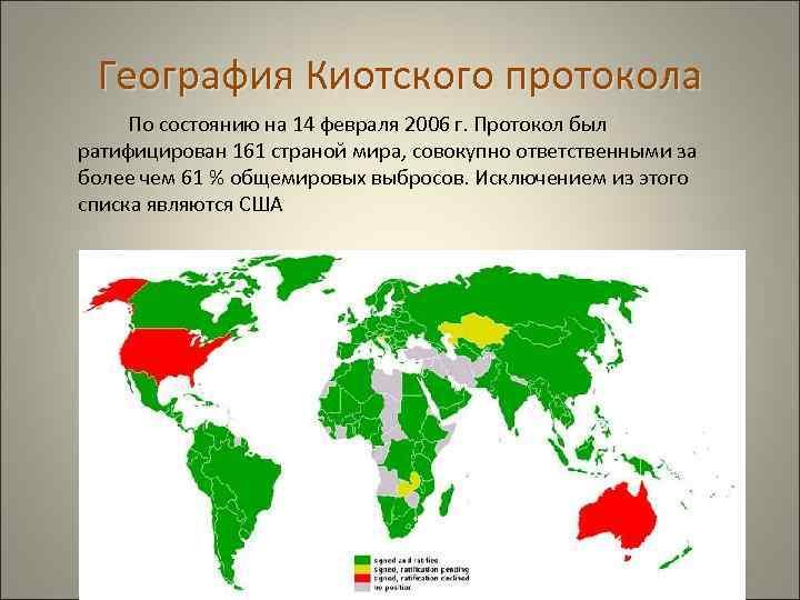 География Киотского протокола По состоянию на 14 февраля 2006 г. Протокол был ратифицирован