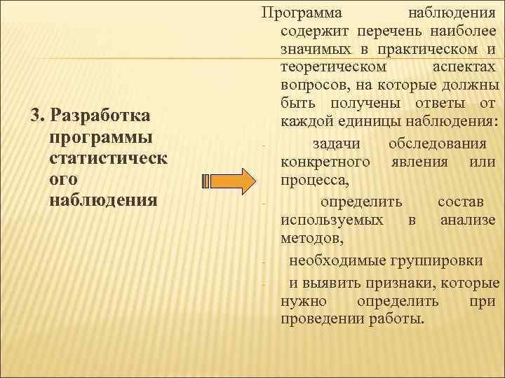 Программа  наблюдения     содержит перечень наиболее